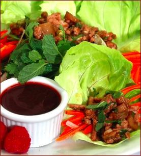 Asian Raspberry Chicken Lettuce Cups