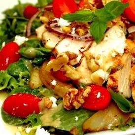 Chicken with Pear, Walnuts and Cheese
