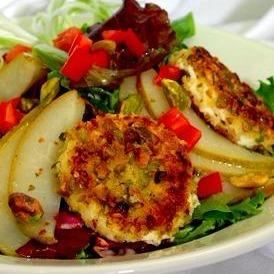 Pistachio Crusted Goat Cheese with Peach Balsamic Vinaigrette