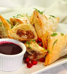 Pomegranate Walnut Chicken in Phyllo