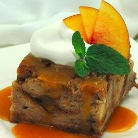 Pecan Bread Pudding with Peach Dessert Sauce