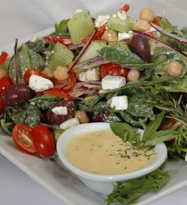 Mediterranean Salad with Apricot Tahini Dressing