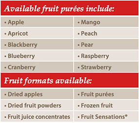 Available fruit purees